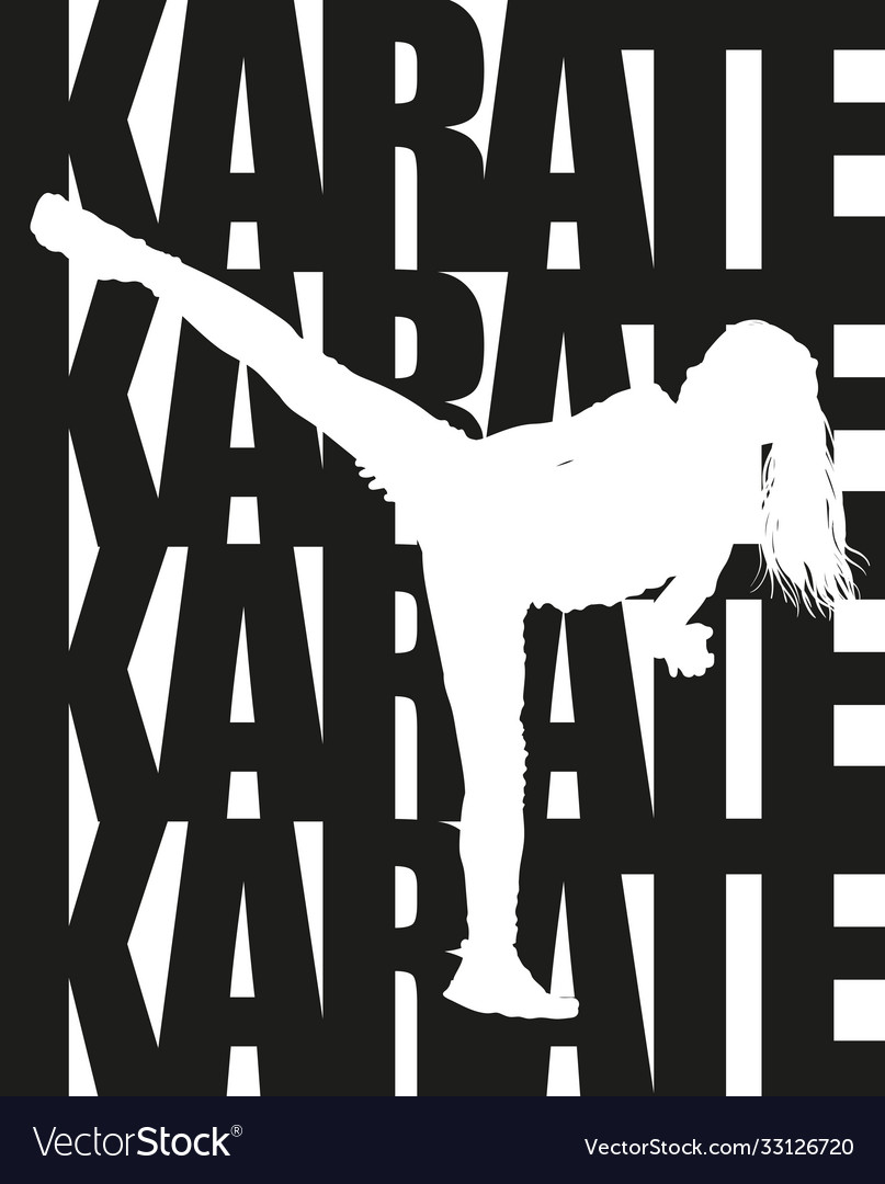 Karate text and silhouette