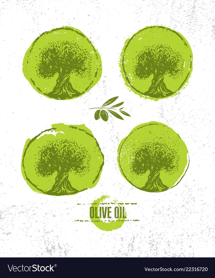 Organic raw olive oil creative design