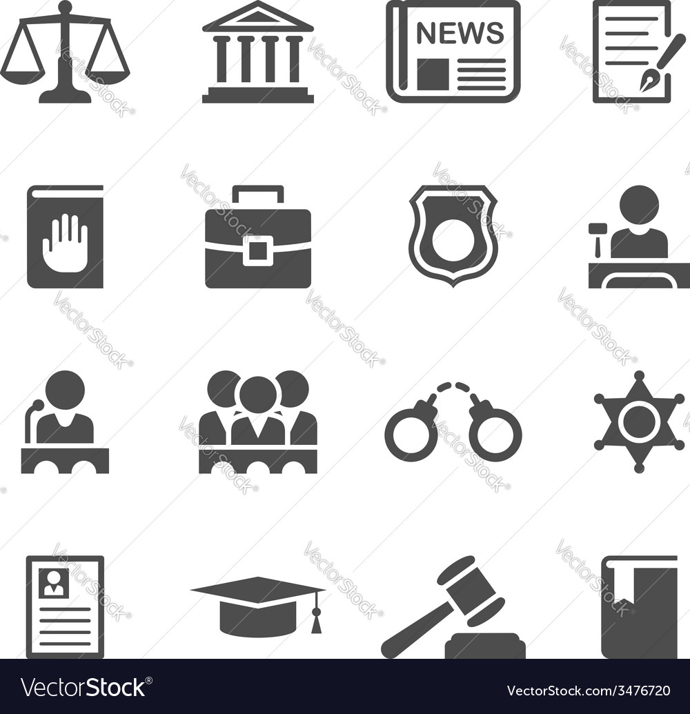 Set law and justice icons