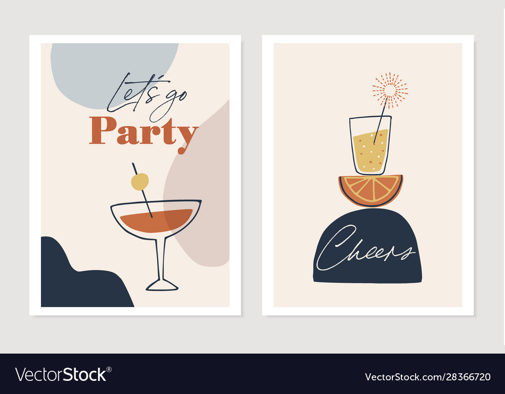 Set new years greeting cards party invitations