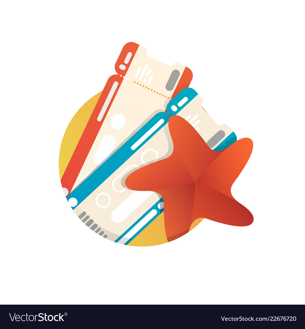 Vacation icon with two tickets and starfish