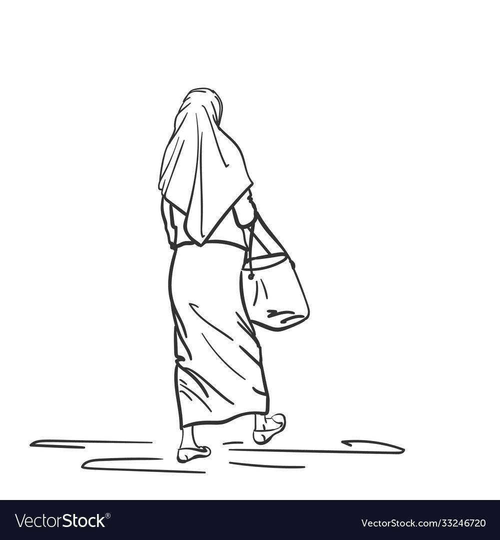Walking muslim woman back view hand drawn linear
