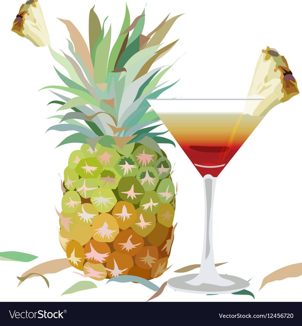 Watercolor Pineapple and Cosmopolitan glass