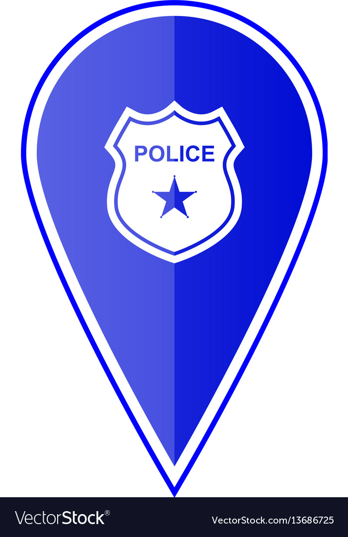 Blue map pointer with police location