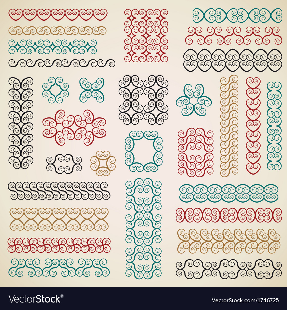 Border design elements set