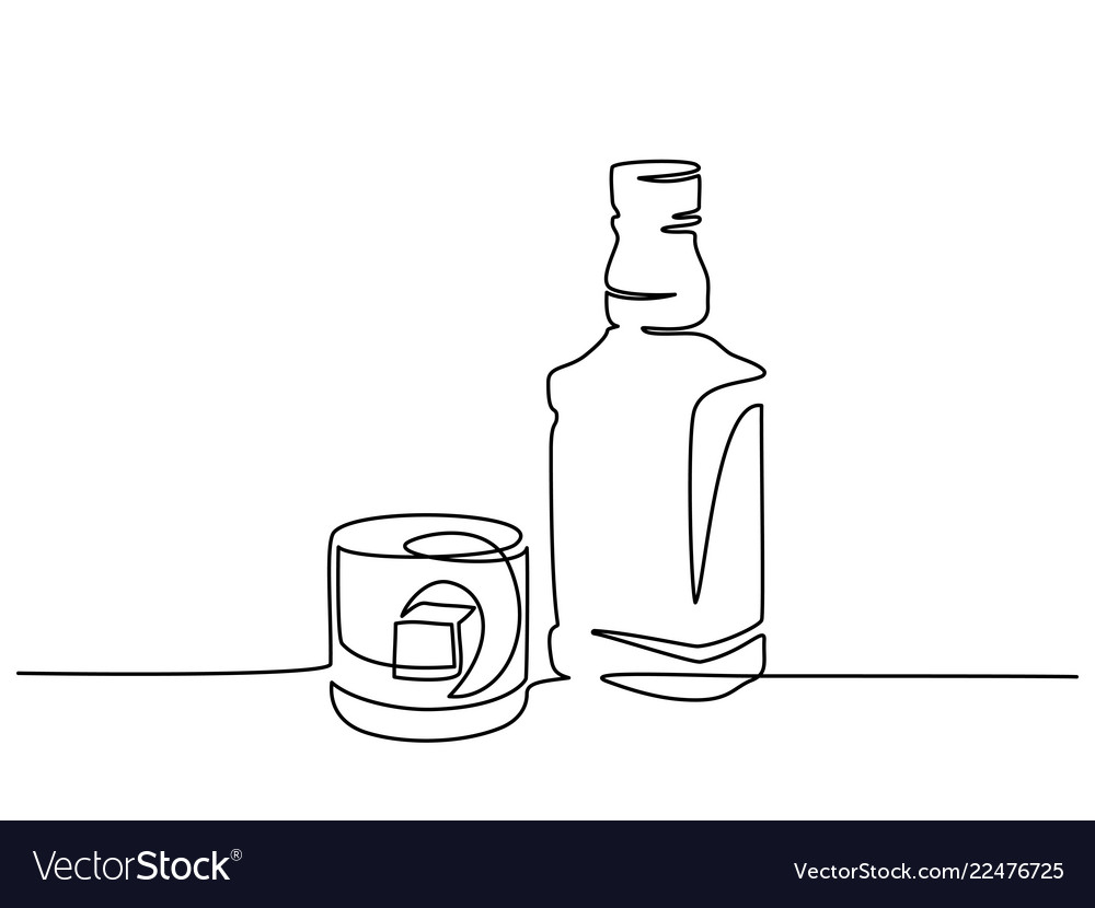Bottle and glass of whiskey continuous one line