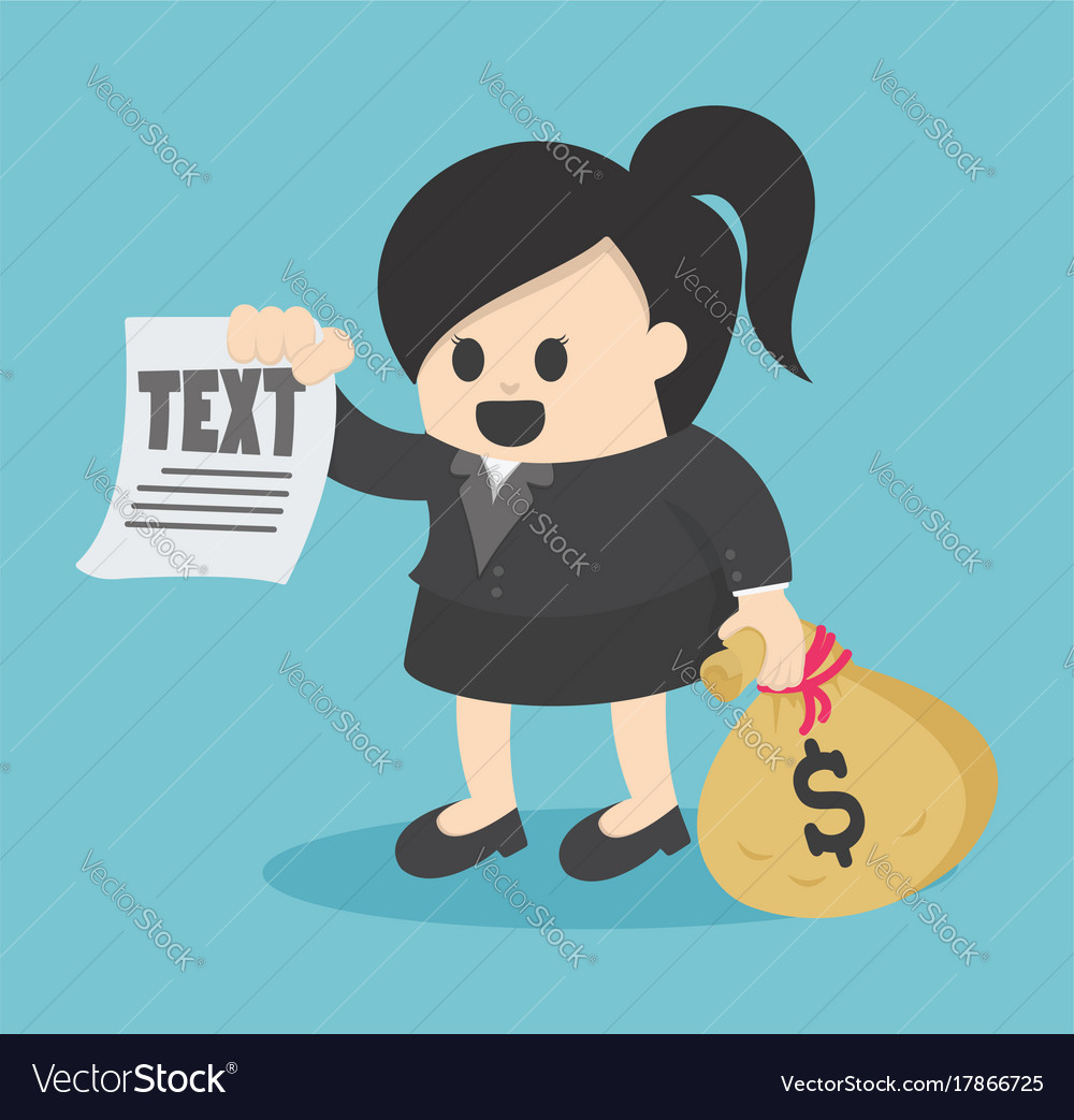 Business woman holding carrying heavy bag money