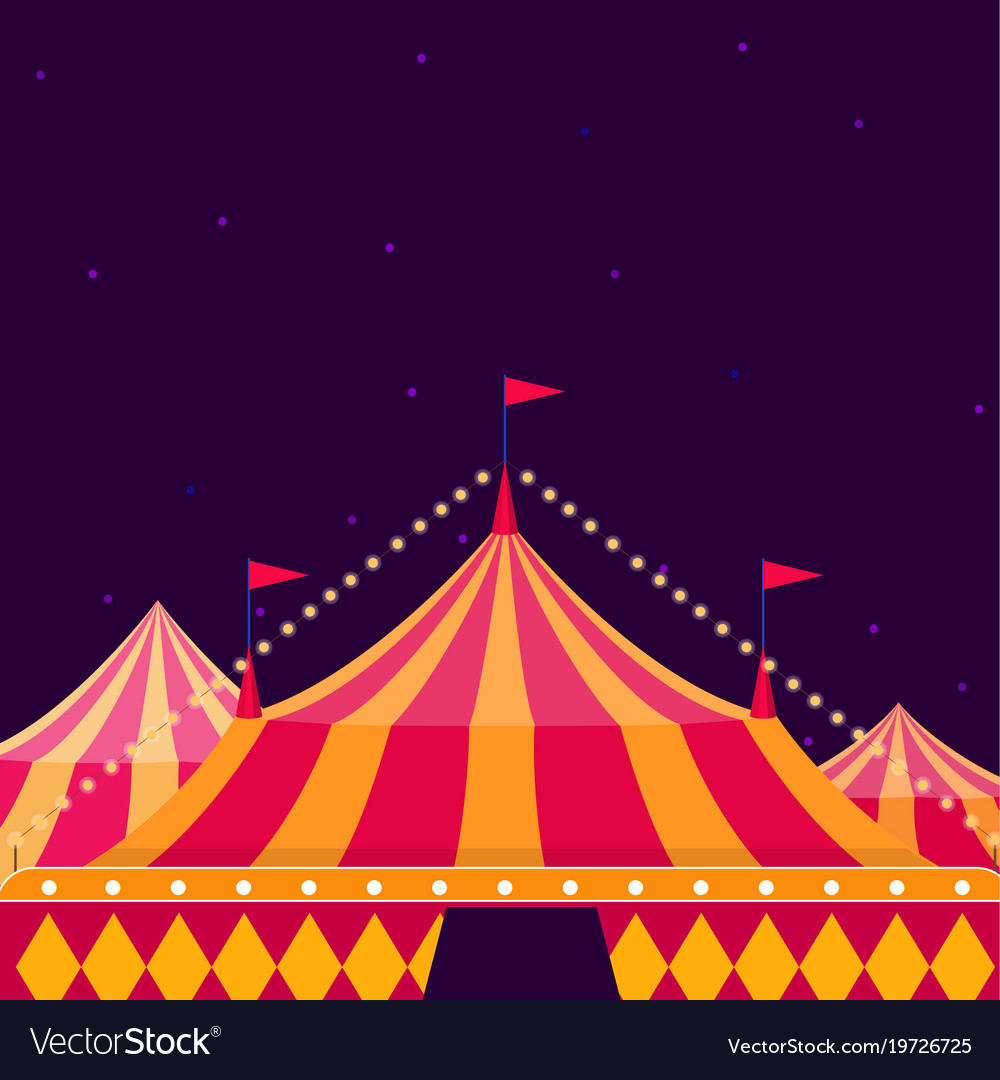 Circus show poster with big top on dark background