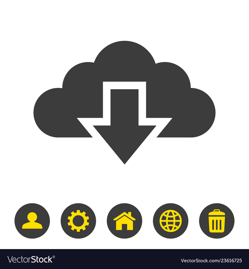 Cloud download icon on white background