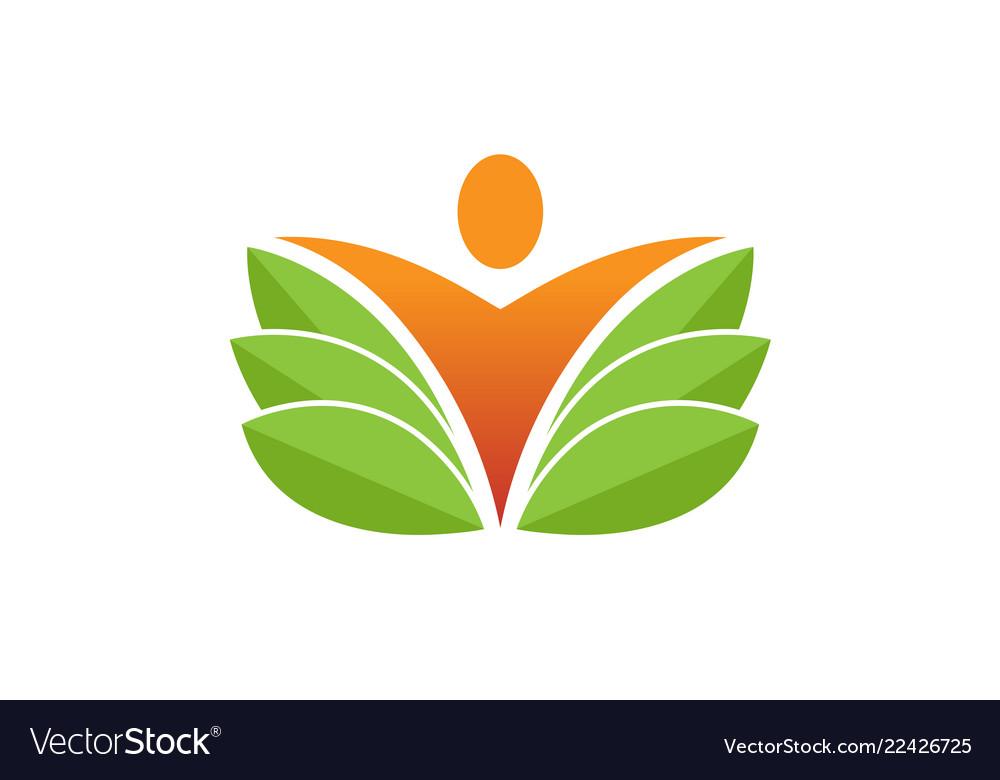 Creative fresh body leaf nature spa logo