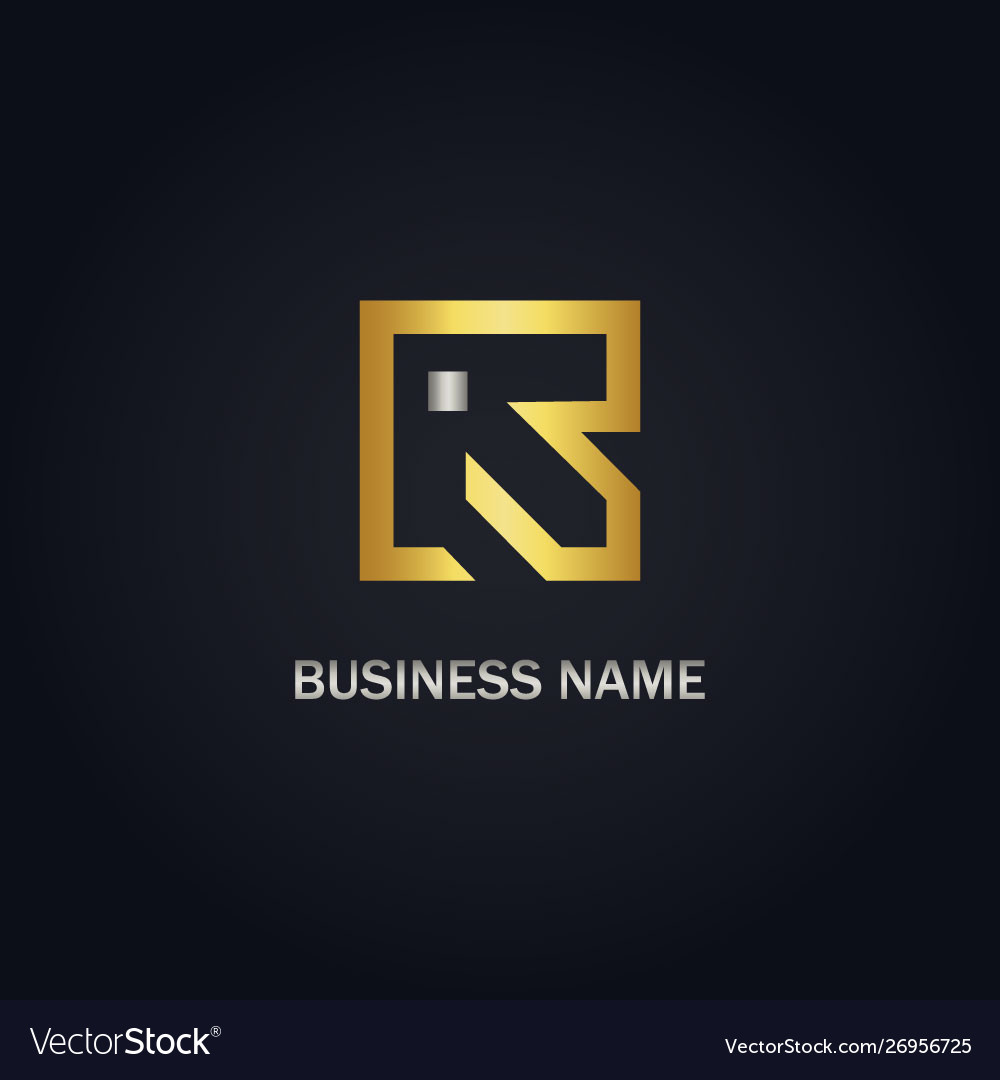 Gold r abstract square logo