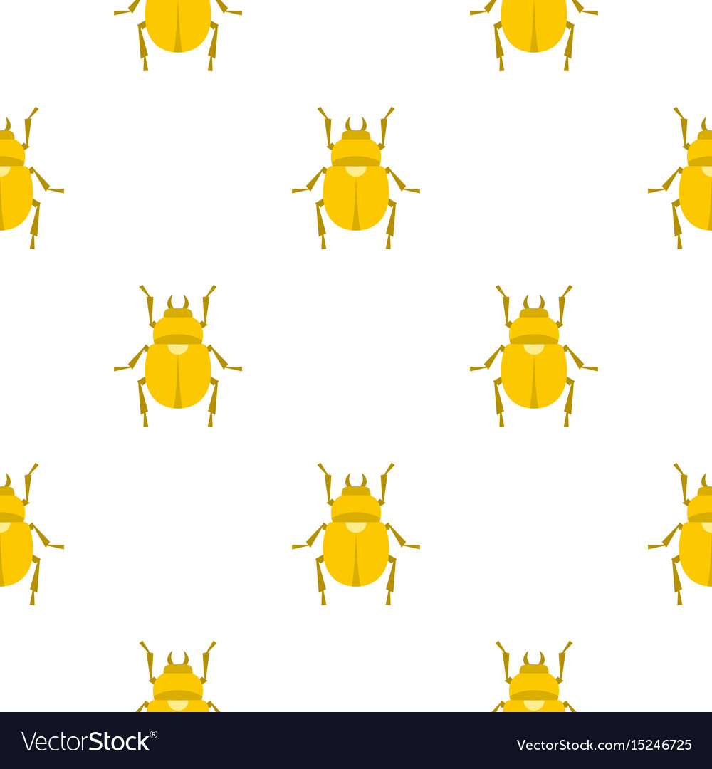 Gold scarab beetle pattern seamless