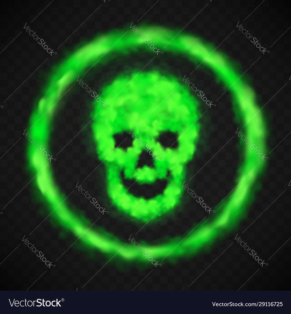 Green smoke skull warning danger sign