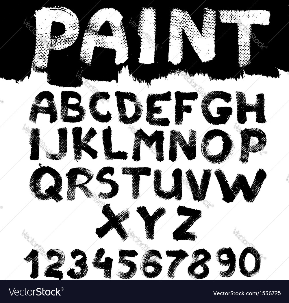 Hand-drawn font on textured paper with paint vector image