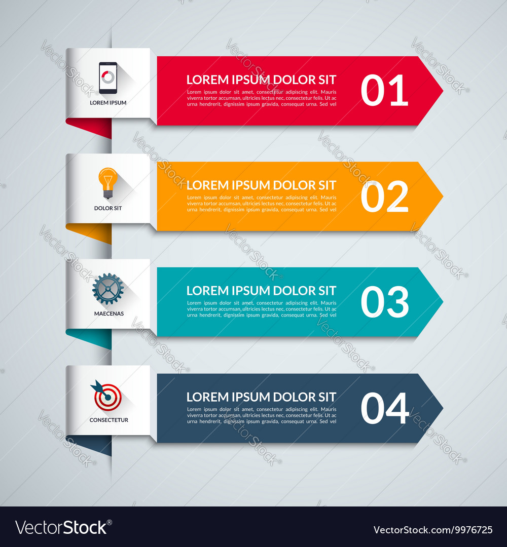Infographic template with 4 arrows options steps
