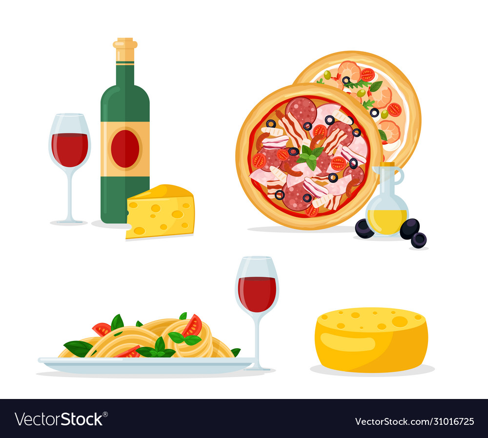 Italian traditional food and mill color cartoon