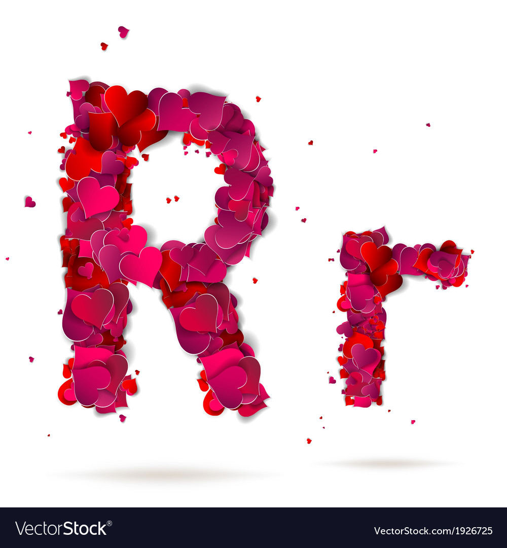 letter r made from hearts love alphabet royalty free vector