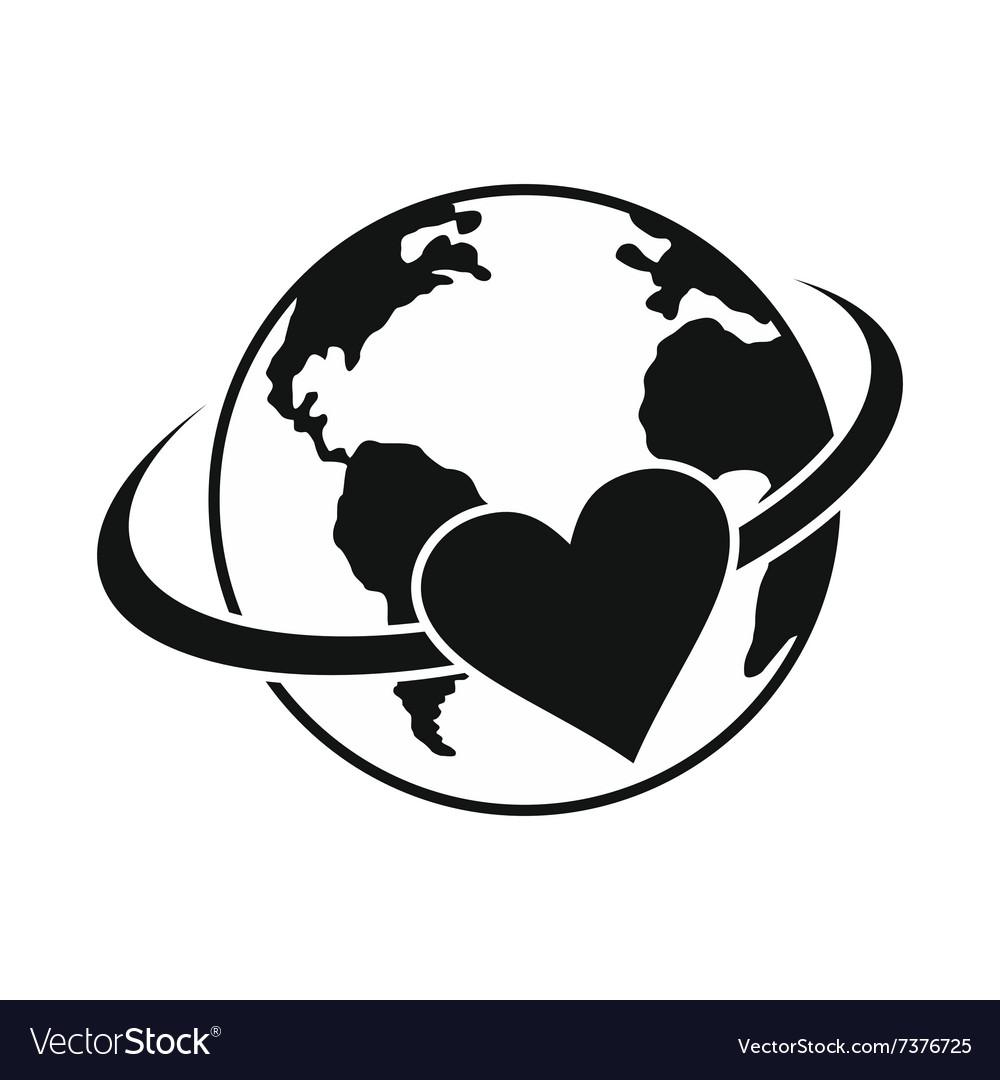 Love the earth black simple icon