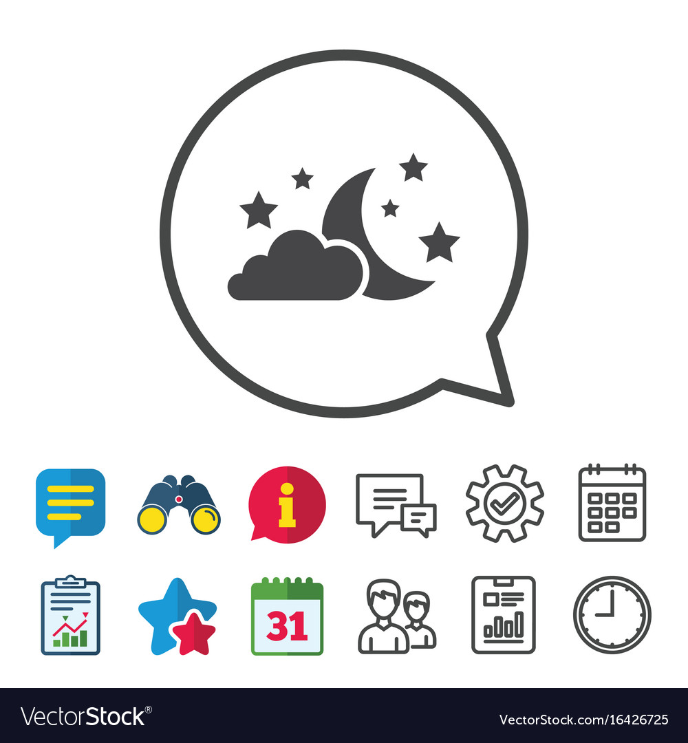Moon clouds and stars sign icon dreams symbol vector image on VectorStock