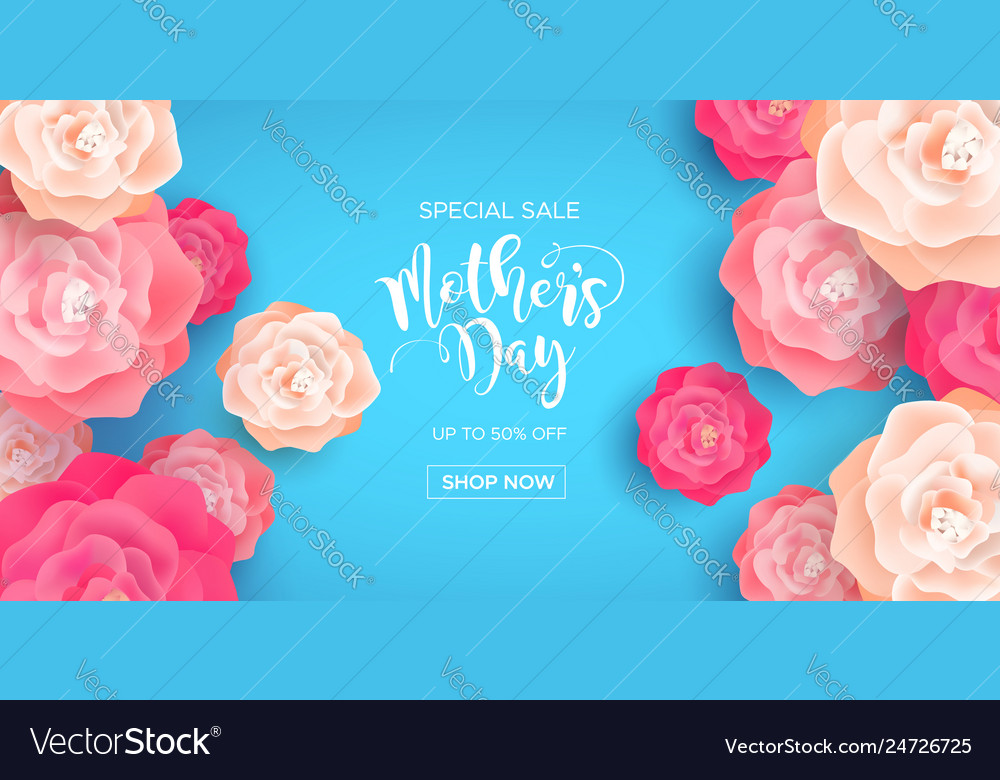 Mothers day business sale banner with pink flowers