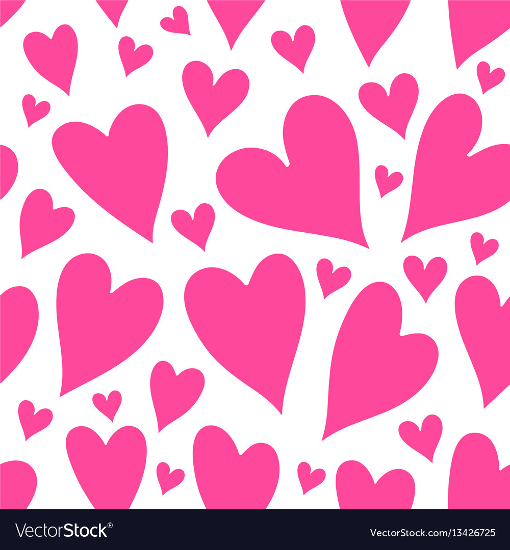 Pink hearts seamless patter