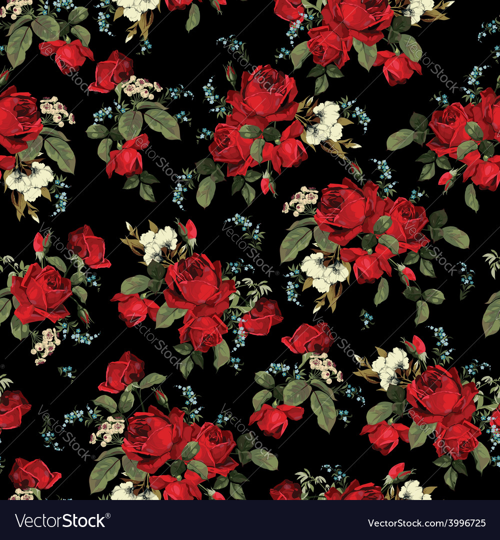 Seamless Floral Pattern With Red Roses On Black Vector Image