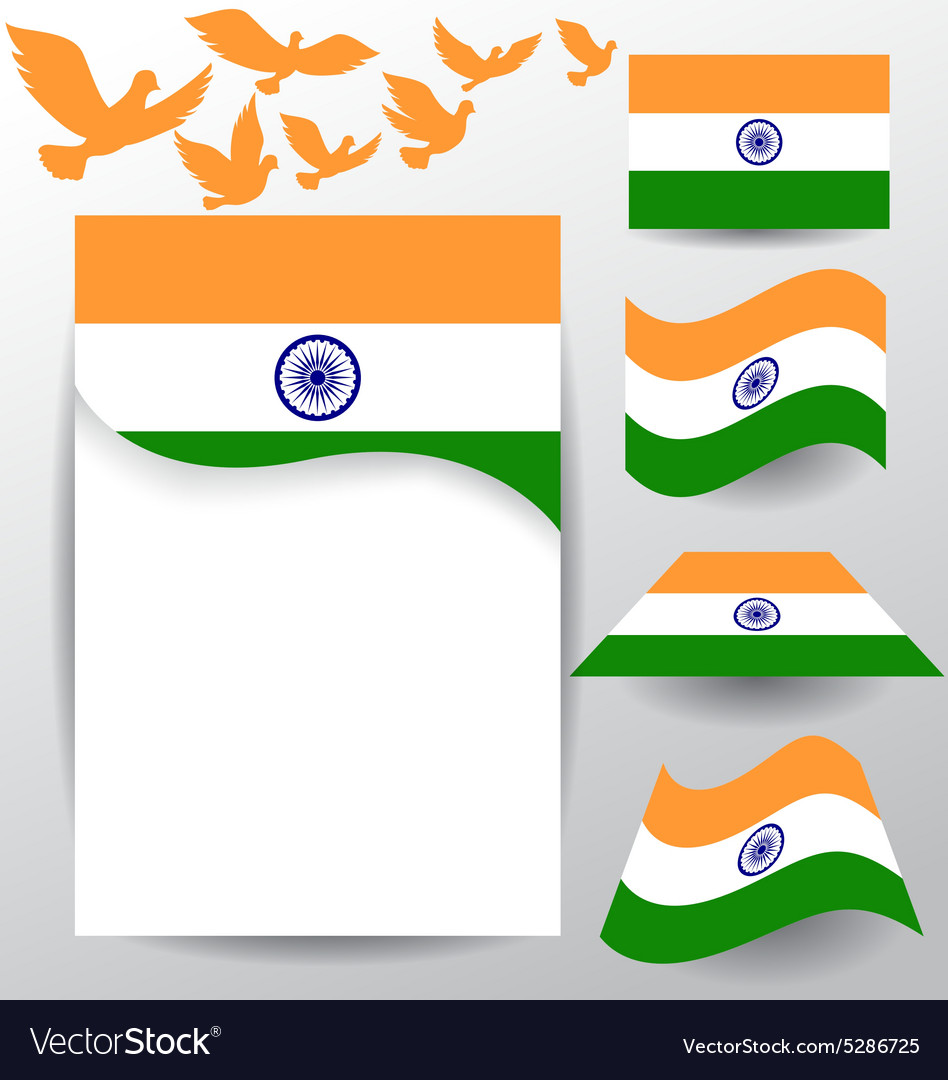 Set of India flag with flying pigeon