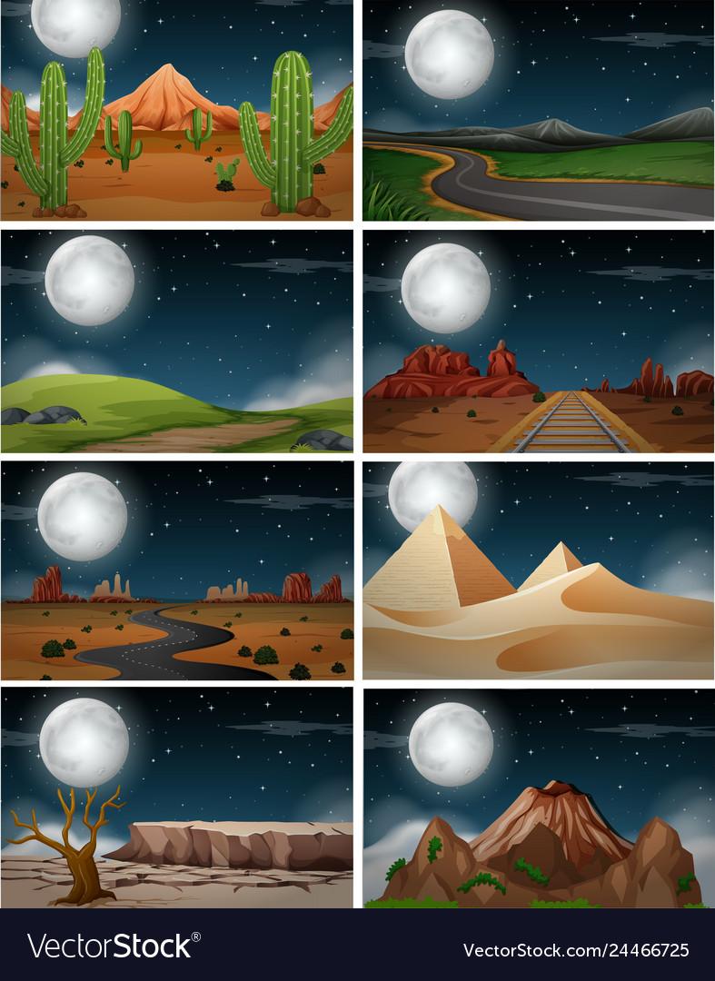Set of nature landscape at night