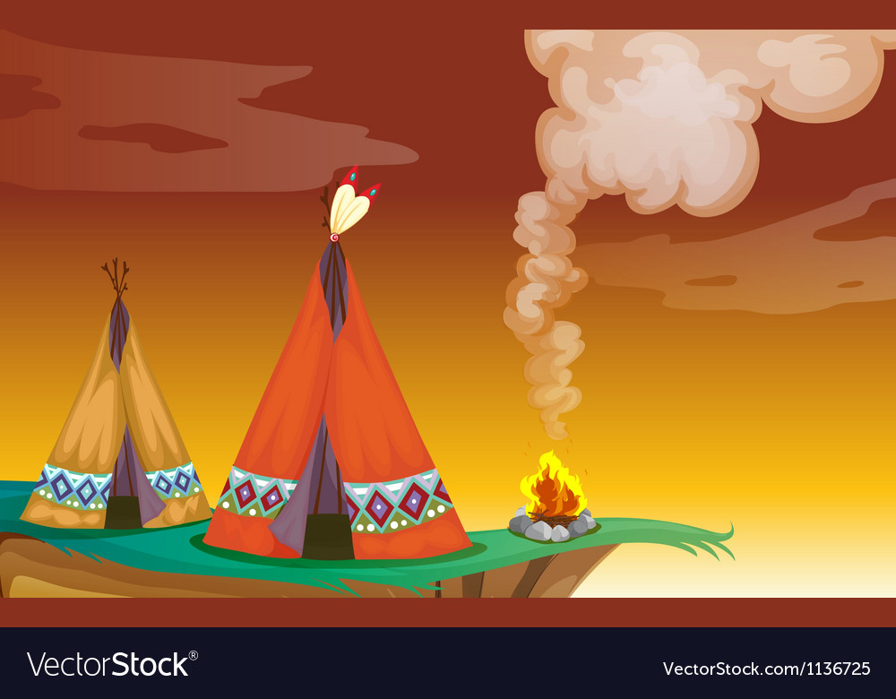 Tent house and fire vector image