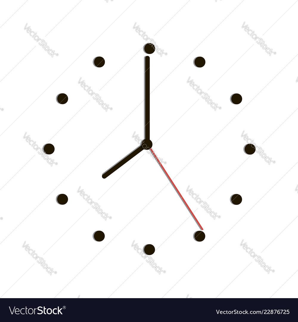 Time clock with shadow on white background