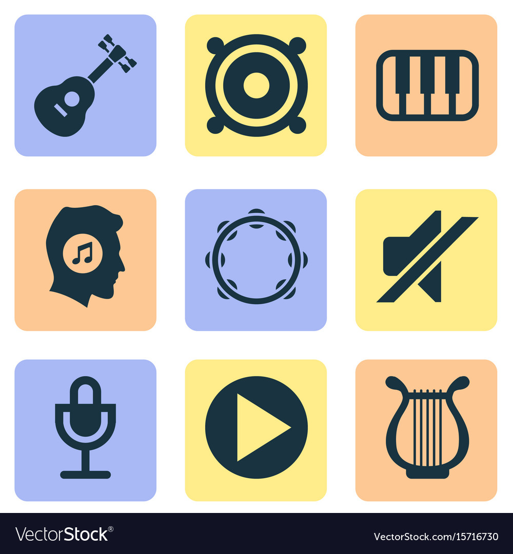 Audio icons set collection of timbrel instrument vector image