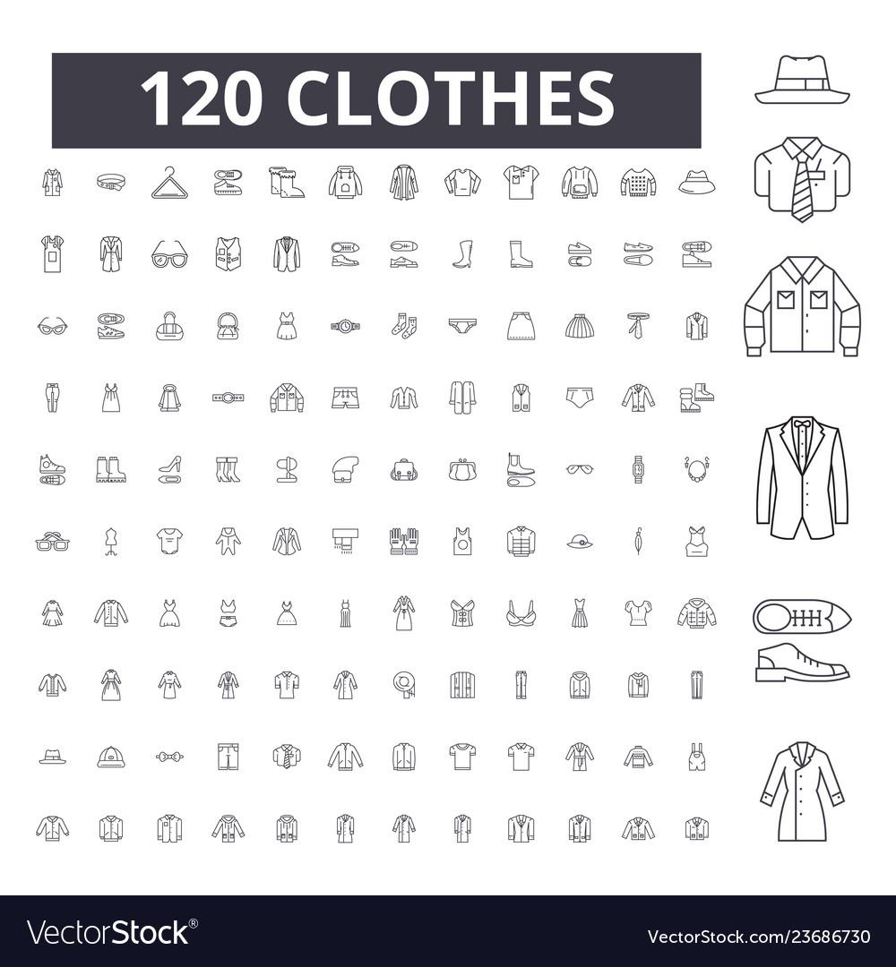 Clothes editable line icons 100 set