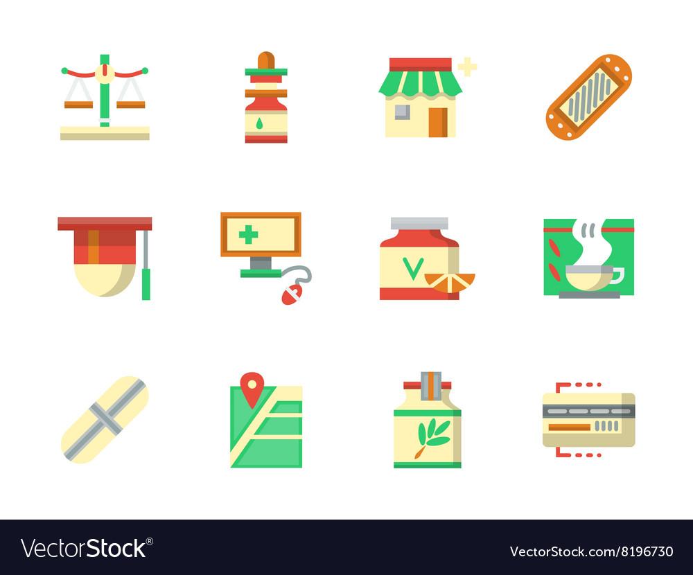 Flat color design chemists shop icons