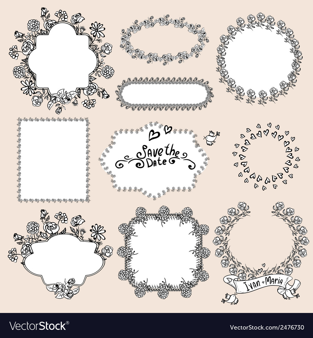 Floral Monochrome Design Laurels Wreaths Frame