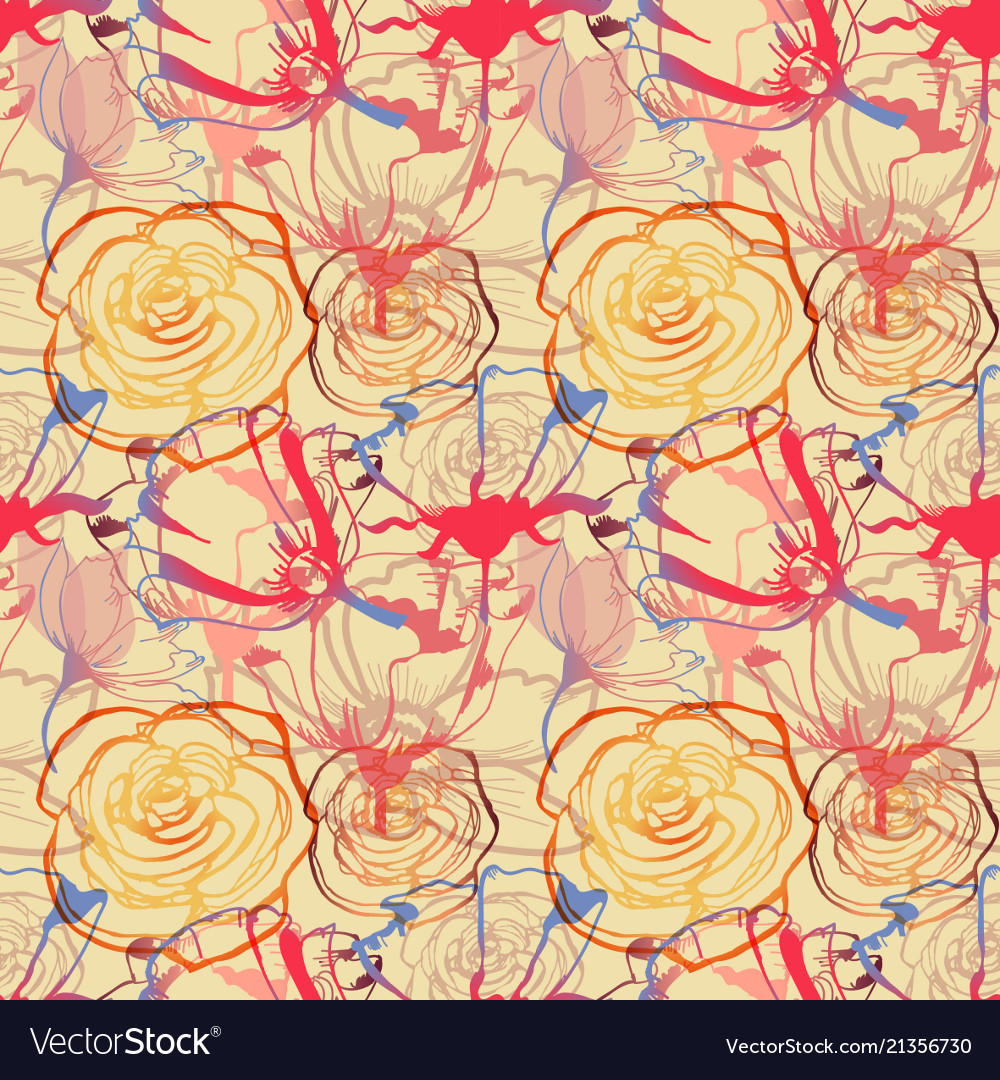 Floral seamless pattern roses and tulips cheerful