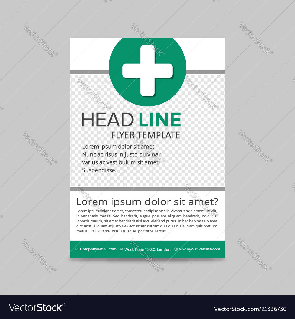 green medical flyer layout template brochure vector image