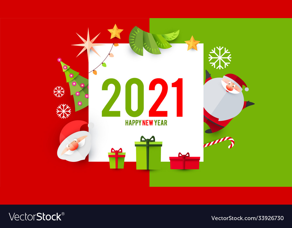 Happy new 2021 year card template with cute santa