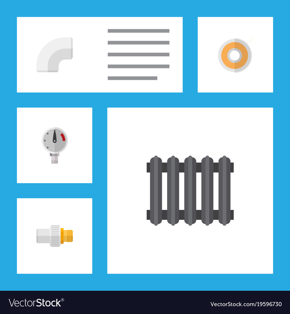 Icon flat pipeline set of radiator drain teflon Vector Image