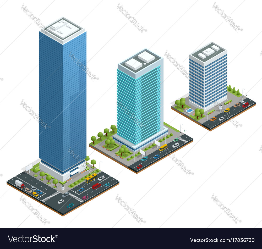 Isometric set city houses composition