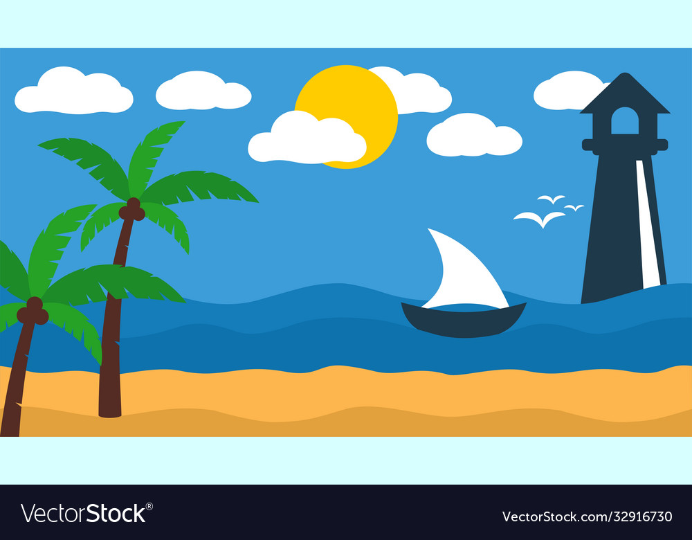 Lighthouse ship beach landscape tropical island