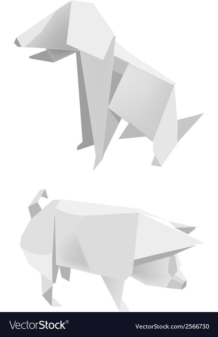 Paper Pig Dog Royalty Free Vector Image Vectorstock