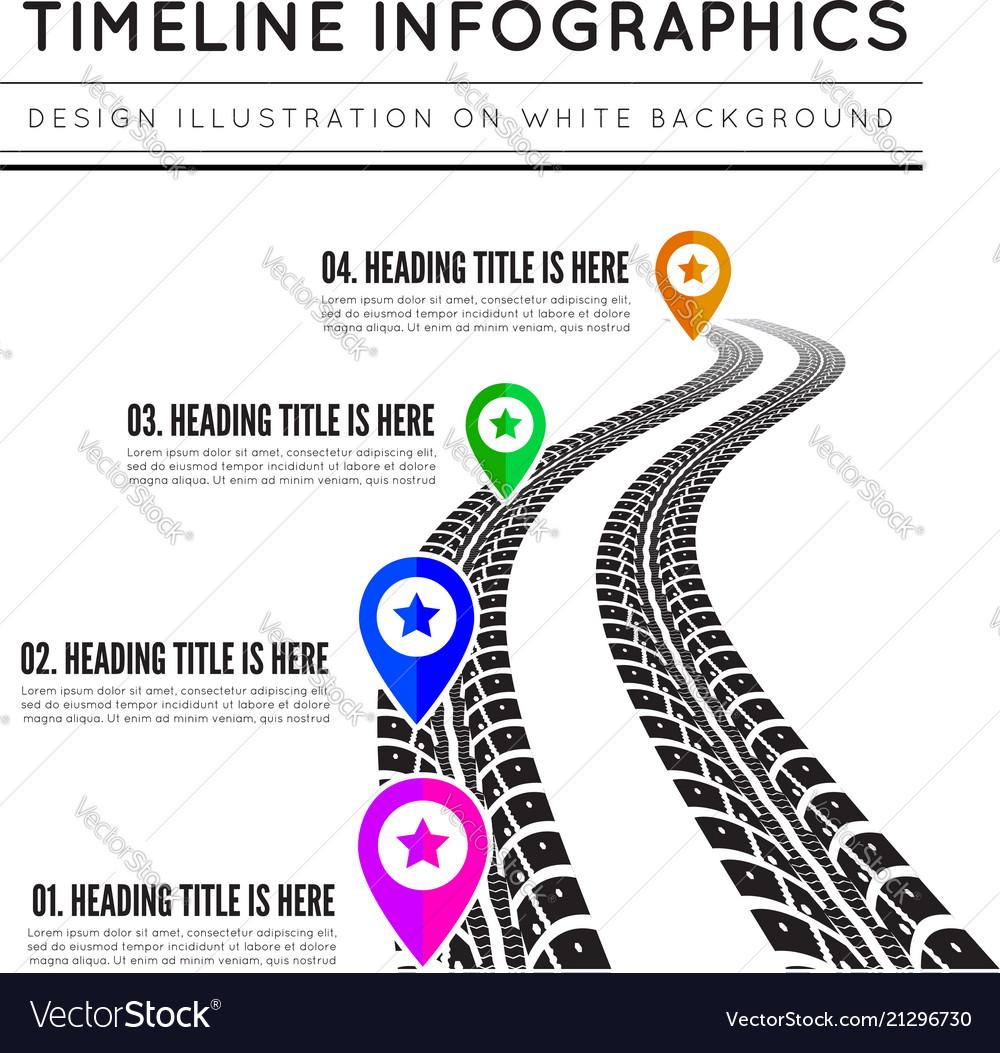Road way design infographics tire tracks timeline