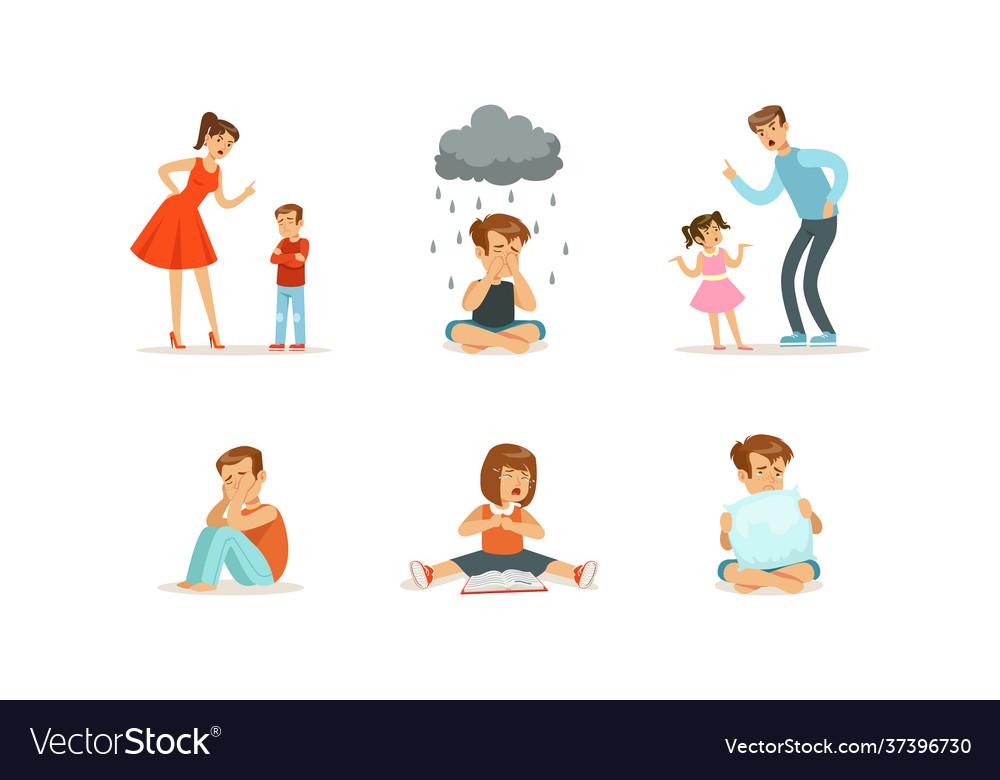 Sad depressed children set unhappy stressed