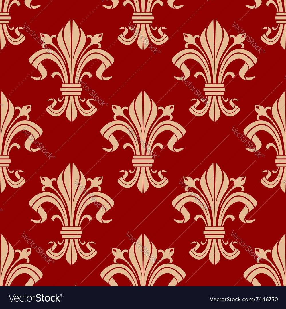 Seamless fleur-de-lis pattern on red background Vector Image