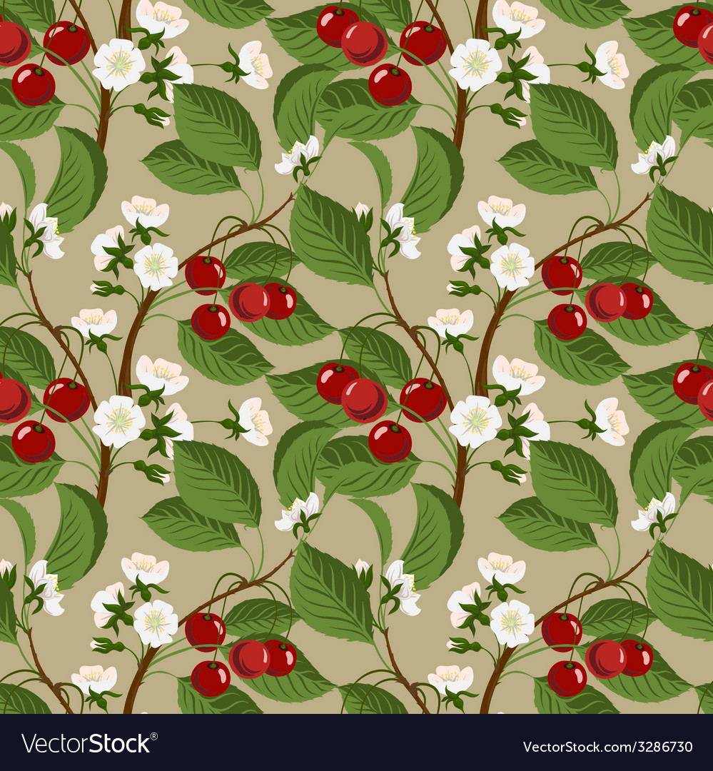 Seamless pattern with cherry berries and blossom