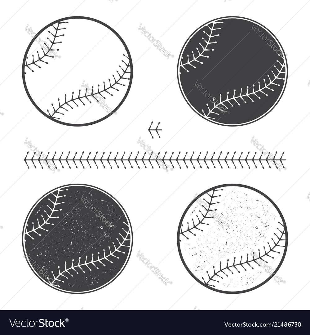 Set baseball icon and seam