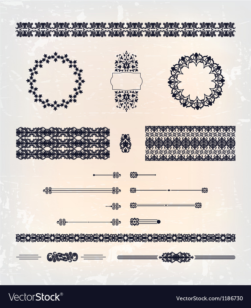 Set of abstract decorative pattern design