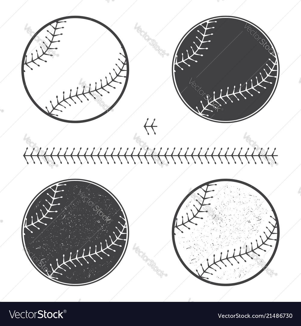 Set of baseball icon and seam
