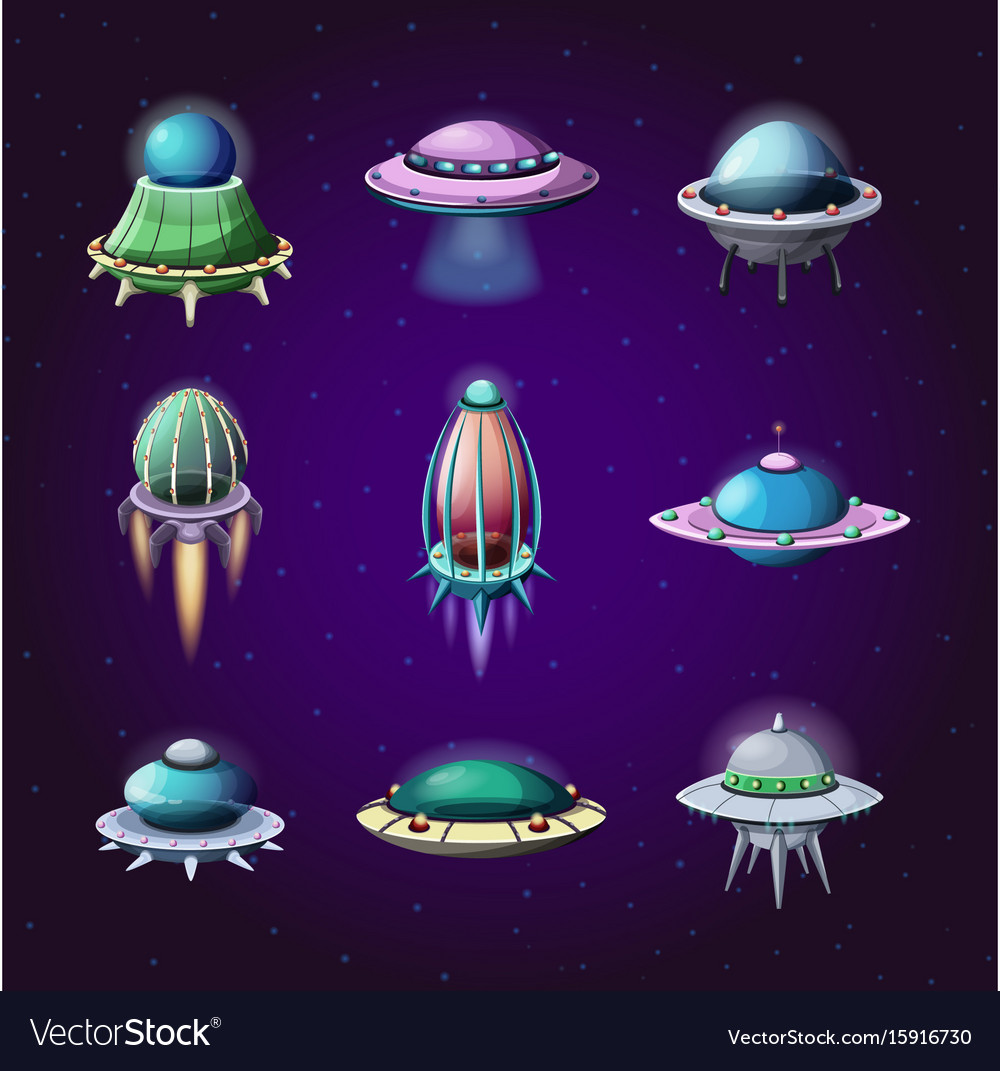 Set of cartoon rockets and alien spaceships vector image