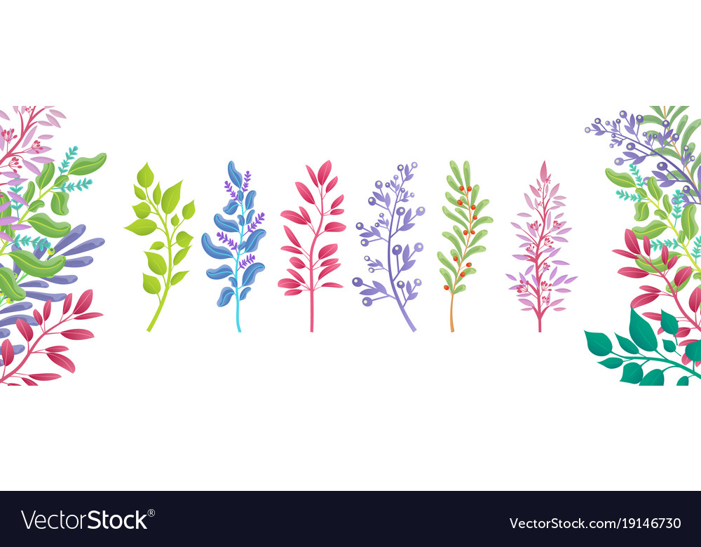 Set of colorful branches icons